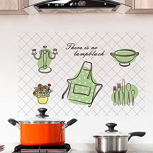 Mural ZOZOSO Pegatinas De Aceite De Cocina Sencillo De Dibujos Animados Viento Verde Serie Utensilios De Cocina Delantal Papel De Aluminio De Alta Temperatura