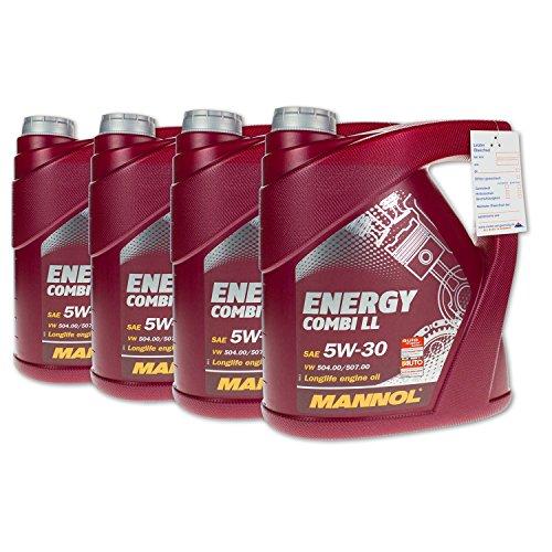 20 (4x5) Liter MANNOL SAE 5W-30 Energy Combi LL Motoröl / Longlife III / API SN/CF, ACEA C3, BMW Longlife-04, MB 229.51, PORSCHE C30, VW 504.00/507.00/502.00/505.00/503.01/506.00/ 505.01*/506.01**