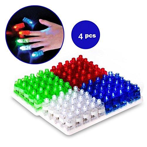sungpunet 4Stück Leuchtende LED-Fingerlichter für Raves Partys und Nacht Zeit Events sortiert Farbe Taschenlampe Lampe