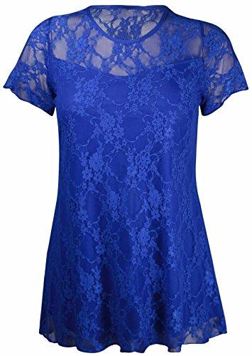 Neue Damen Blumen Spitze Kurze Ärmel Gefüttert Gemustert T-Shirt Stretch Tunika Party Top Plus Größe UK 14–28 Blau