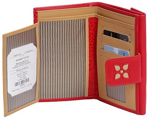 Fatto a mano da artigiani in Spagna - Vera Pelle di alta qualità - Portafoglio donna - Colori disponibili Rosso