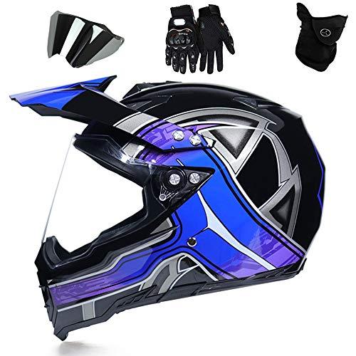 QYTK Casco Motocross Adulto Azul Negro Integrales