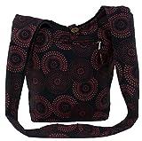 Guru-Shop Sadhu Bag mit Blümchen-Druck, Goa Tasche - Schwarz, Herren/Damen, Baumwolle, Size:One...