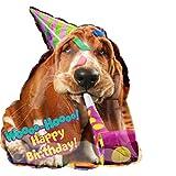 paduTec Ballon XXL Folienballon Luftballon - Partyhund Hund Happy Birthday - Geburtstag Kindergeburtstag Deko - geeignet zur befüllung mit Luft oder Helium Gas