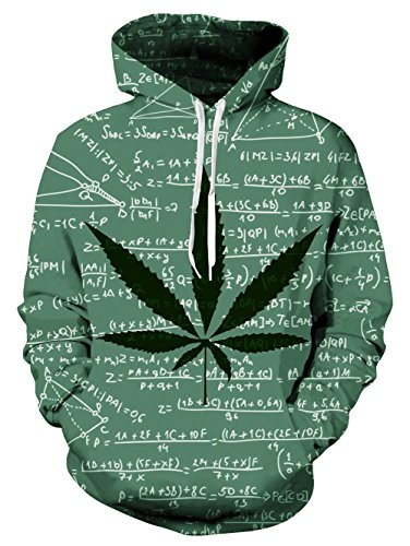 Loveternal Unisex lustige Weed Formel Blattentwurf gedruckt Langarm Fleece Pullover Hoodies Sweatshirt für Teen jungen Mädchen M