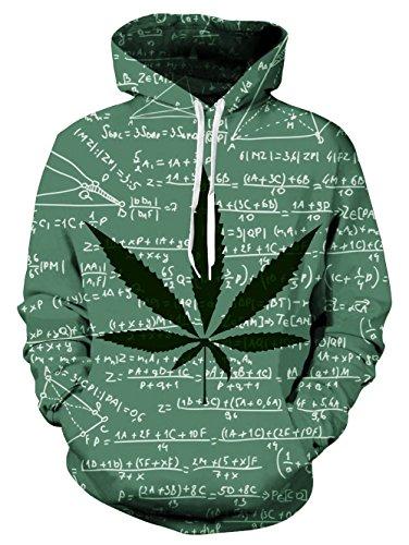 Loveternal Unisex Erwachsene 3D Unkraut Blatt Formel Grafik Print Kordel Tasche Make Up Pullover Hoodies Sweatshirt für Frauen Männer S (Weed Hoody)