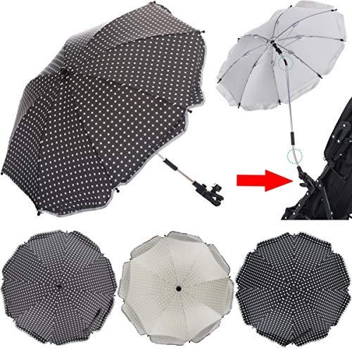 PREMIUM SONNENSCHIRM für Kinderwagen/Buggy (UV-SCHUTZ 50+) Schirm WASSERABWEISEND (PUNKTE GRAU)