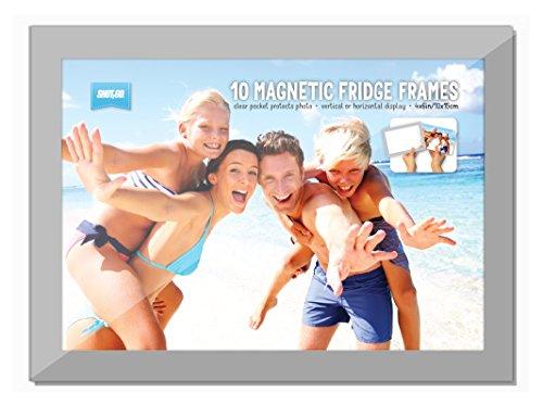 agnetische Kühlschrank-Bilderrahmen für Fotos, mit Foto-Taschen und Silberrand, 10,2x 15,2cm ()