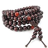 KONOV Schmuck Herren Damen Armband, 8mm Tibetisch Buddhistischen Sandelholz Perlen Gebet Mala Kette, Holz, Rot