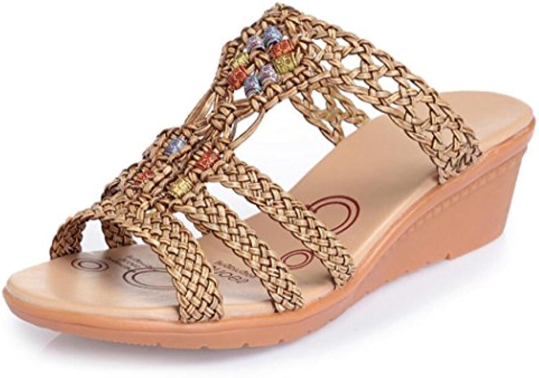 Sandalias de Las Mujeres Cuña Talón a Mano Zapatillas de Verano de la Playa al Aire Libre Comodidad Zapatos Tamaño...