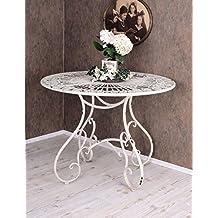 Runder Esstisch Gartentisch Shabby Chic Eisentisch Weiss Metall Tisch