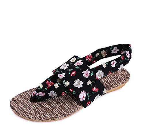 del Sandalo fiori del piede panno del di punta aperto panno della della del di del casuale Panno colore Pattino Pattern piede Black donne caramella modello delle punta della piede FARALY dei fRHqvnxE0w
