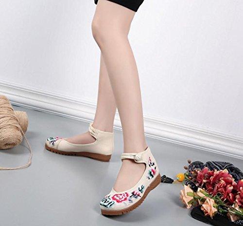 DESY Scarpe ricamate, suola a tendina, stile etnico, scarpe da donna, moda, comodo, casual all'interno dell'aumento meters white