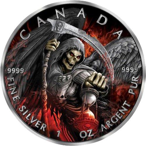 Kanada Silber Leaf Maple (GRIM REAPER Gevatter Tod Maple Leaf Armageddon II 1 Oz Silber Münze 5$ Canada 2017)