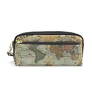 bennigiry mapa del mundo gran capacidad estuche, Kids niños estudiantes lápiz bolsa bolsa bolsa para viajes escuela pequeña bolsa de cosméticos