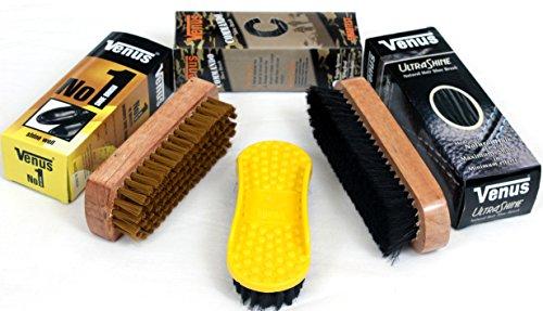 Venus Shoe Polish Brush Combo 1(Set of 3 Brushes,Dusting,Applying Polish & Shining/Buffing)