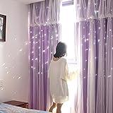 Nclon Prinzessin Spitze Vorhänge gardinen,Reine Farbe Sterne Diagramme Fantasie Licht Blockiert Voile Vorhänge gardinen-Lila 1 Panel W300cm*D260cm