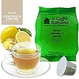 50 Cápsulas de Tisana compatibles Nespresso sabor Jengibre y limón , 50 Cápsulas compatible con maquinas Nespresso, Paquete de 5x10 por un total de 50 Capsules, 50 cápsulas tisana, Il Caffè italiano