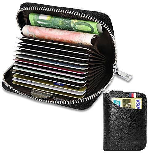 Porta Carte di Credito per Donna Uomo Genuino del Titolare della Carta di Credito in Pelle RFID con 13 Ranuras para Tarjetas e 2 Compartimenti per Banconote e Monete (Nero 1)
