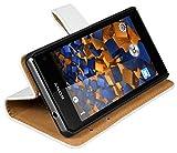 mumbi Ledertasche im Bookstyle für Sony Xperia Z1 Compact Tasche weiss