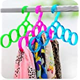 Shopais Single Line Acrylic Hanger Plastic Ring Hanger For Scarf, Shawl, Tie, Belt, Closet Accessory Wardrobe Organizer (Assorted Color)
