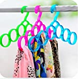 #7: ShopAIS single line acrylic hanger Plastic Ring Hanger for Scarf, Shawl, Tie, Belt, Closet Accessory Wardrobe Organizer (Assorted Color)