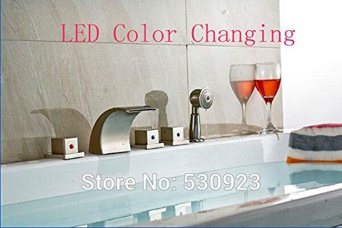Maifeini  Neu Moderne Nickel Gebürstet Badezimmer Badewanne Armatur Platz Griffe W/Led-Licht Ändern Tippen Sie Auf Mischpult Deck Mount Tippen -