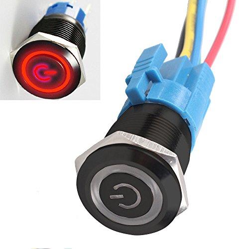 12V Commutateur de bouton poussoir oeil dange en metal LED Interrupteur a verrouillage lumineux de voiture 16mm noir + vert Interrupteur SODIAL R