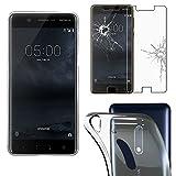 ebestStar - pour Nokia Nokia 5 - Housse Coque Silicone Gel Souple ULTRA FINE INVISIBLE + Film protection écran en VERRE Trempé, Couleur Transparent [Dimensions PRECISES de votre appareil : 149.7 x 72.5 x 8 mm, écran 5.2''] [Note Importante Lire Description]