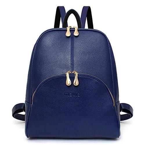 DEERWORD Damen Rucksackhandtaschen Schultertaschen Schulrucksack Tagesrucksack Laptoptasche Leder Blau -