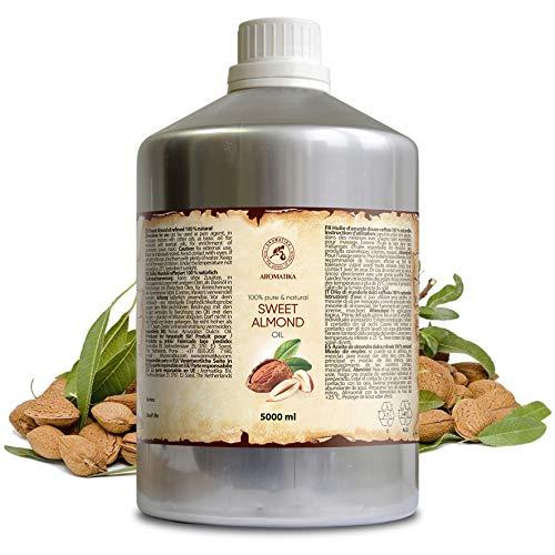 Mandel Öl Raffiniert 5000 ml - 5 Litre Reines und Natives Mandelöl - Prunus Amygdalus Dulcis Oil - Italien - Gesichtöl - Körperöl - Haare Öl - Massageöl