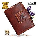 Geldbörse Damen Leder I Geldbeutel mit RFID Schutz I XXL Portemonnaie aus Echtleder I Travel Organizer im Vintagelook I 13097 Corno d'Oro