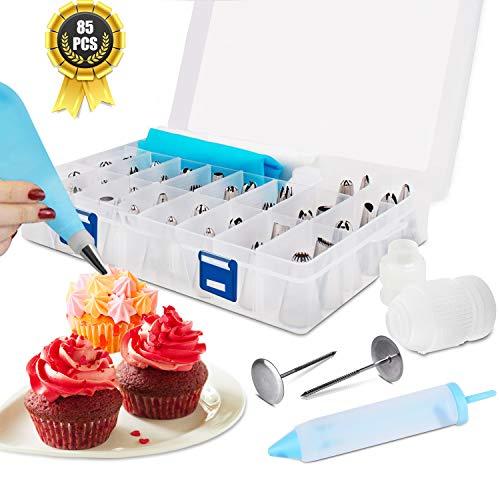 RenFox 85 Teiliges Spritztüllen Set, Profi Backzubehör Edelstahl Spritztüllen & Silikonbeutel & Cupcake Förmchen für Pralinen, Plätzchen, Keksen, Kuchen und Torten Blumen Decorating Tools