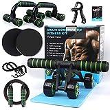 AB Roller buiktrainer, 7 in 1, buiktrainer set, abdominale roller, buikroller, antislip kniebeschermer, glijschijven, push-steungrepen, fitness weerstandsbanden, handtrainer en springtouw, voor fitness