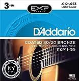 D'Addario EXP11-3D beschichtete Saiten für Akustikgitarre, 80/20, Light, 12-53, 3er Pack
