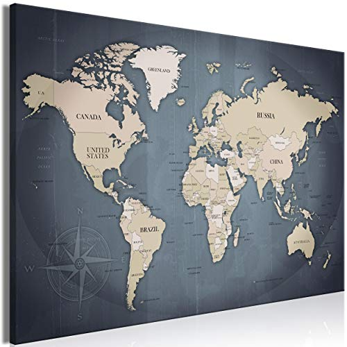 decomonkey Bilder Weltkarte 90x60 cm 1 Teilig Leinwandbilder Bild auf Leinwand Wandbild Kunstdruck Wanddeko Wand Wohnzimmer Wanddekoration Deko Landkarte grau -