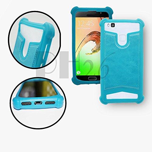 YEZZ ANDY 4E LTE Coque arrière façon cuir bleu ciel contours en silicone gel anti-chocs by PH26®
