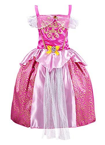FStory&Winyee Mädchen Prinzessin Kleider Belle Kleid Pink Kinder Cosplay Märchen Kostüm Karneval Party Verkleidung Halloween Fest