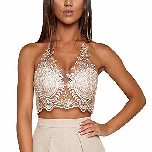 QIYUN.Z Femmes Réservoir Dos Nu Dentelle Crochet Mode Camisoles Club Wear Tops Cou Or