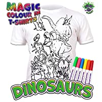 Splat Planet Colour-in Dinosaur T-Shirt with 6 Non-Toxic Washable Magic Pens - Colour-in and Wash Out T-Shirt