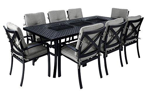 Hartman Jamie Oliver Esstisch, Grilltisch in edlem grau, solider hochwertiger Aluminium-Guss, Tischplatte mit 3 Einlassungen, ca. 229 x 107 x 74 cm, korrosionsbeständig, 3 Metallwannen einsetzbar