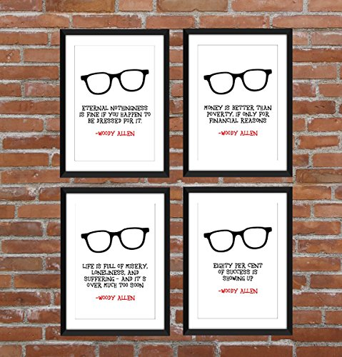 set-di-4-woody-allen-quotes-unframed-stampe