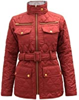 NEW WOMENS LADIES QUILTED PADDED BUTTON POCKET ZIP BELTED JACKET COAT SIZE 8-13