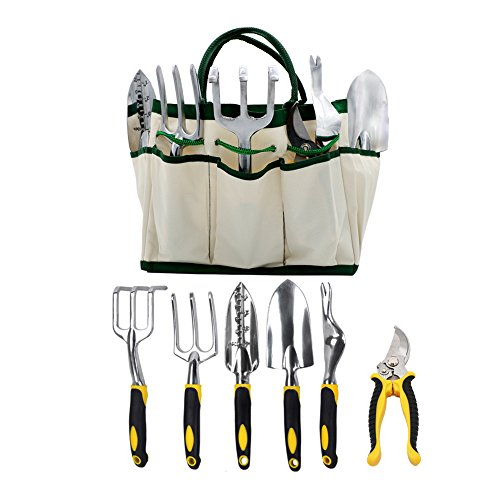 7-teiliges Garten Werkzeug Set, Garten Geschenk Set, inkl. Kelle, Pflanzmaschine, Grubber, Gartenschere, Unkrautjäter, Jäten GABEL und Canavas Tote