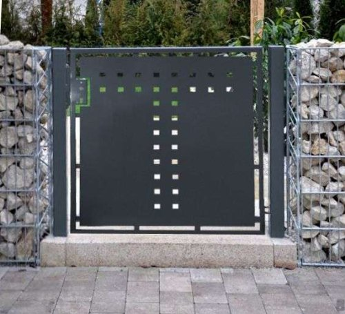 Gartentor T-Blech Pforte Hoftor Einfahrtstor Tür Tor Törchen pulverbeschichtet grau 125cm x 100cm