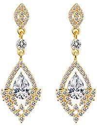 c3bba0deae4c BiBeary mujer Cristal Art Deco Boda Dangle Pendientes claro tono dorado