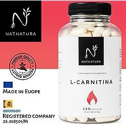 L-Carnitina. Complemento Alimenticio de L-Carnitina natural. Potente quemagrasas para adelgazar. Suplemento deportivo de alta concentración con ingredientes de máxima calidad y efectividad para mejorar el rendimiento, resistencia y recuperación. 120 cápsulas, tratamiento para 2 meses. PREMIUM QUALITY.
