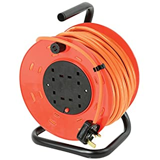 Ex-Pro® 25m Meter 4 Way Gang Mains Extension Lead Reel BS Approved Drum HEAVY DUTY Thermal Cut Out 13A, ideal for Garden, Workshop, DIY Etc.