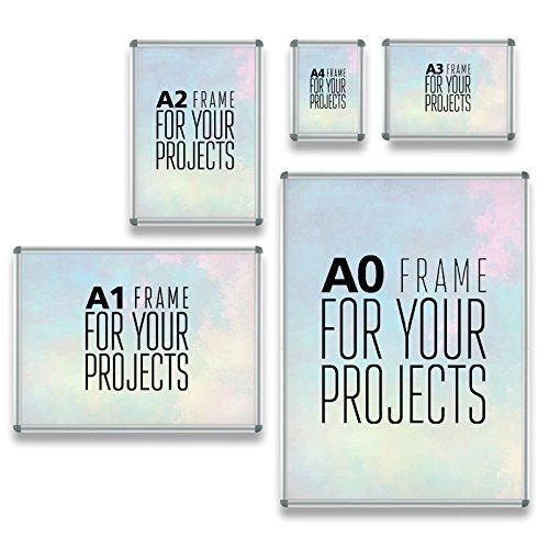 Office Marshal® Posterrahmen Rondo | mit Klick System | XL Wechselrahmen für großformatige Bilder und Poster DIN A4 bis A0 | verschiedene Größen (A2)