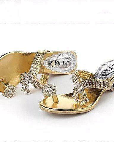 LFNLYX Scarpe Donna-Sandali-Formale-Tacchi / Plateau / Toe ring-Quadrato-Sintetico-Argento / Dorato golden